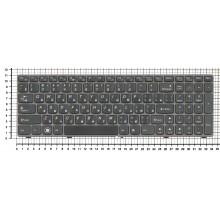 Клавиатура для ноутбука IBM Lenovo IdeaPad B570 B580 V570 Z570 Z575 B590 черная с бронзовой рамкой