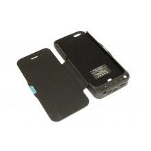 Аккумулятор/чехол для Apple iPhone 5/5S 4200 mAh черный leather cover
