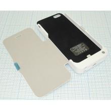Аккумулятор/чехол для Apple iPhone 5 4200 mAh белый leather cover