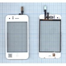 Сенсорное стекло (тачскрин) Apple IPhone 3G белое с рамкой