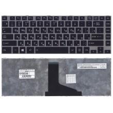 Клавиатура для ноутбука Toshiba L800 L830 черная с серой рамкой
