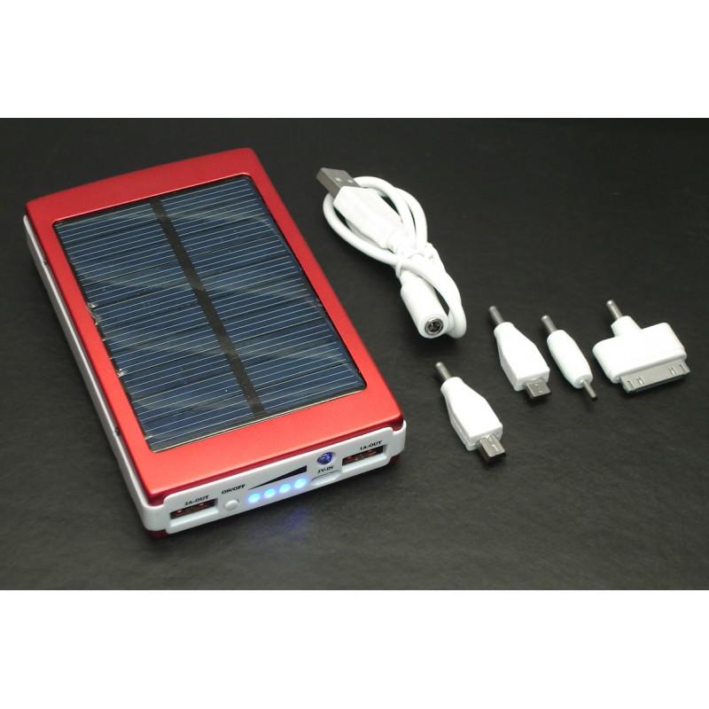 Универсальный внешний аккумулятор Powerbank 13800mAh на солнечной батарее c фонариком