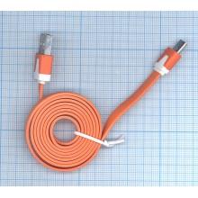 Плоский кабель Color USB-microUSB 1.0m USB-2.0 Orange (Оранжевый)