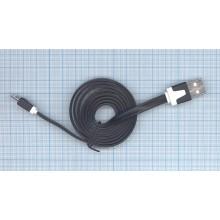 Плоский кабель Color USB-microUSB 1.0m USB-2.0 Black (Черный)
