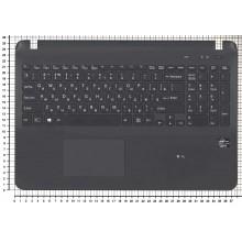 Клавиатура для ноутбука Sony FIT 15 SVF15 черная топ-панель c подсветкой