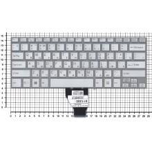 Клавиатура для ноутбука Sony Vaio Fit 14E  серебристая с подсветкой без рамки