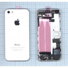 Задняя крышка (корпус) для Apple IPhone 5S с разъемами кнопками и шлейфами белая