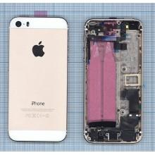 Задняя крышка (корпус) для Apple IPhone 5S с разъемами кнопками и шлейфами золото