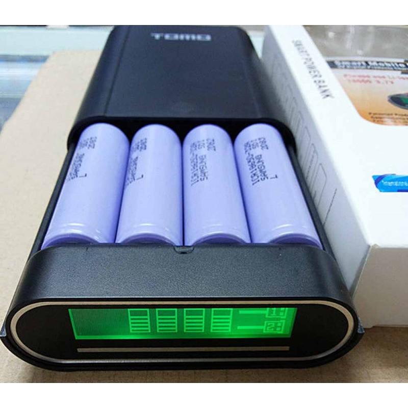 Универсальный внешний аккумулятор TOMO V8-4 (Soshine E3) LCD экран, 4x18650, 5V/1A, 2A 2xUSB черный