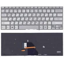 Клавиатура для ноутбука Sony SVF14N FIT серебристая с подсветкой