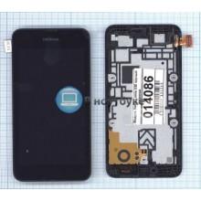Модуль (матрица+тачскрин) Nokia Lumia 530 черный с рамкой