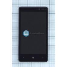 Модуль (матрица + тачскрин) Nokia Lumia 820 черный с рамкой