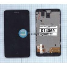Модуль (матрица + тачскрин) Nokia X Dual sim черный с рамкой